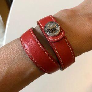Coach Vermilion Leather Double-wrap Bracelet